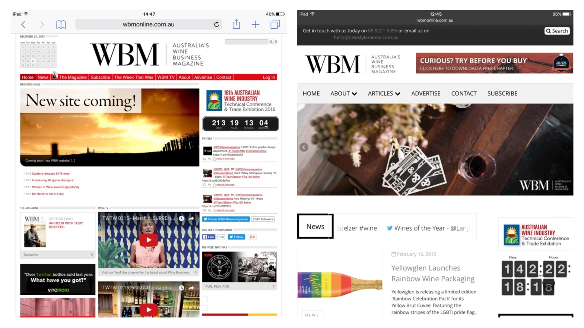 The old Wine Business Magazine site against the new