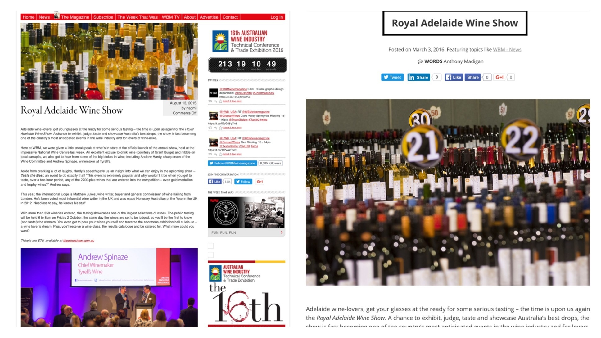 The old Wine Business Magazine blog against the new