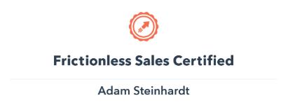 Adam Steinhardt HubSpot Frictionless Sales Certified